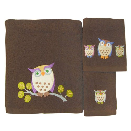 Allure Home Creations Awesome Owls 100-Percent Cotton 3-Piece Towel Set