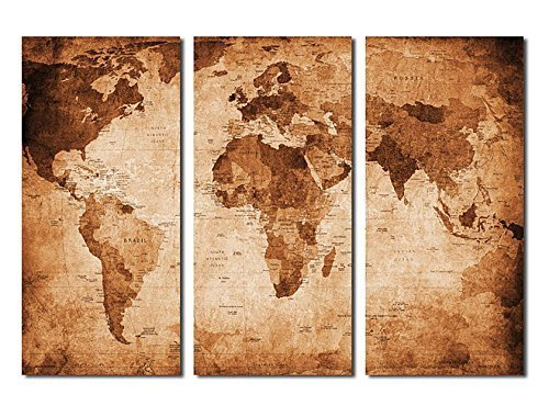 Vintage canvas prints world map wall art 3 panel large retor vintage canvas prints world map wall art 3 panel large retor giclee art work of world map antique style stretched and framed ready to hang for office gumiabroncs Gallery