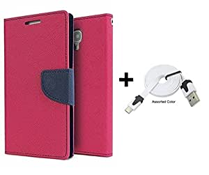 Bcbgmaxazria Mercury Wallet Flip Case Cover For Samsung Galaxy S7 (Pink) With Flat Usb Data Cable
