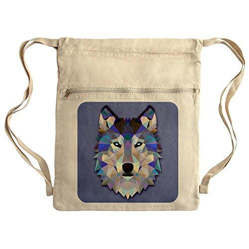 Royal Lion Messenger Drawstring Bag Triangle Wolf - Khaki
