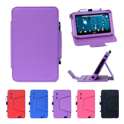 "I-Unik Pioneer R1 7"" Tablet 8Gb Memory Dual Core Slim Folio Case (Purple)"