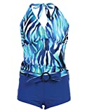 Marina West Women's Halter Tankini & Shorts Swimsuit Set (2 Piece),X-Large,Blue Tiger thumbnail