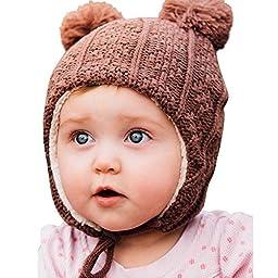 Warm Cute Infant Fall Winter Earflap Beanie Hat (S: 3-9 Months, Brown bear)
