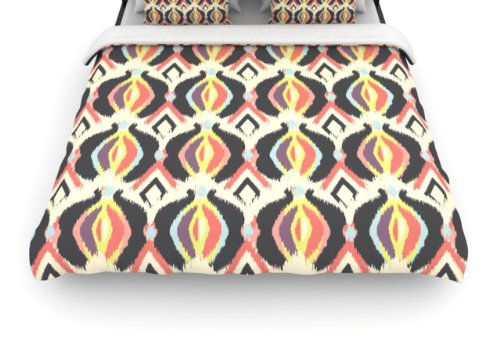 "Kess Inhouse Amanda Lane ""Bohemian Ikat"" 88 By 104-Inch Woven Duvet Cover, King back-959235"