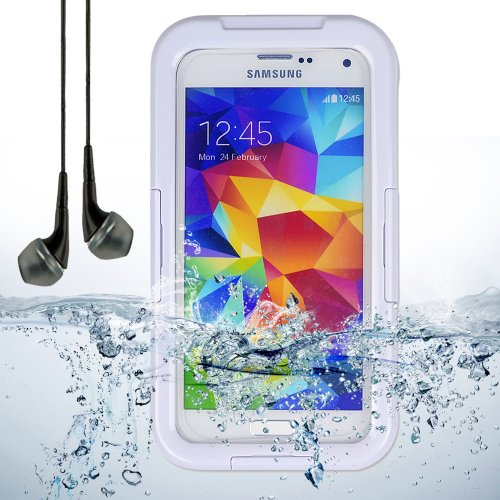 White Waterproof Case Diving Dry Box Water Resistant Case For Samsung Galaxy S5 + Black Vangoddy Headphones With Mic