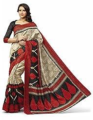 Vipul Tanjavur Silk Brown Traditional Print Saree