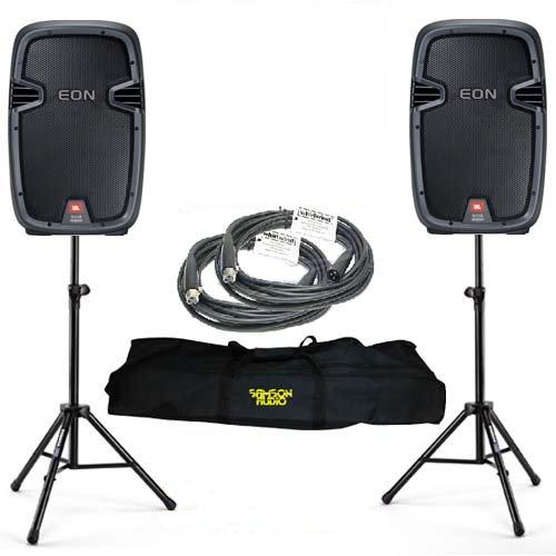 2 Jbl Eon 510 Powered Pa Dj Speakers Bundle