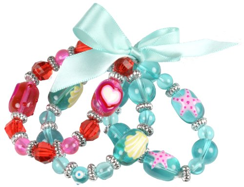 Hand-Painted Sea and Heart Kids Stretch Bracelet Trio