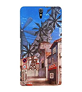 ANIMATED MULTIPLE WIND MILLS PIC 3D Hard Polycarbonate Designer Back Case Cover for Sony Xperia C5 Ultra Dual :: Sony Xperia C5 E5553 E5506 :: Sony Xperia C5 Ultra