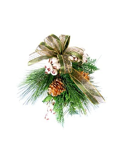 Creative Displays Pine And Berry Holiday Swag With Green Ribbon Set Of 3, Green/Gold/White