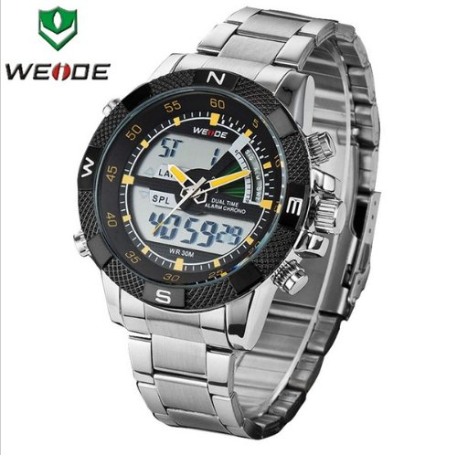 Gift-Hk 6 Color New Fashion Weide Mens Sports Steel Watch Analog & Digital Dual Time Lcd Backlight + Watch Gift Box (Yellow Hands)
