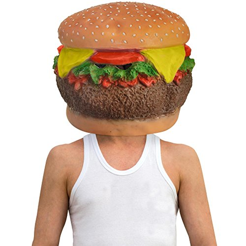Deluxe Cheese Burger Full Head Latex Food Mask