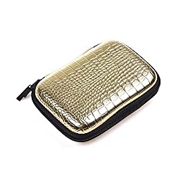 Case Star ® PU Grained Leather Hard Shell Case Bag for 2.5-Inch Portable Hard Drive with mesh pocket inside