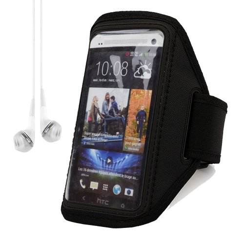 Sumaclife Workout Armband Case Pouch For Htc One / One S / One X (Black) + White Vangoddy Headphones With Mic