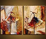 Wieco Art - Modern 100% Hand Painted Canvas painting Art Work for Wall Decor Home Decoration, Stretched and Framed Painting Artwork, Ballet Dancers - 2 Piece Abstract Oil Paintings on Canvas Wall Art Ready to Hang for Wall Decorations Home Decor