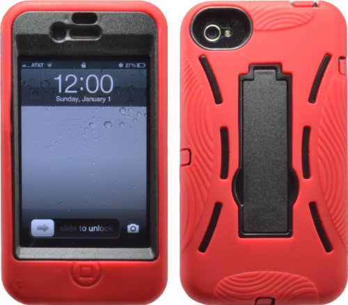Red Shock Proof Armored Defender Case/Cover With Stand For Iphone 4 4S 4G 4Gs