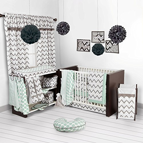 Bacati Ikat Mint/grey 6 Crib Set with 4 Muslin Blankets