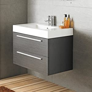 Designer Style Silhouette Basin And Cabinet Wall Hung Grey