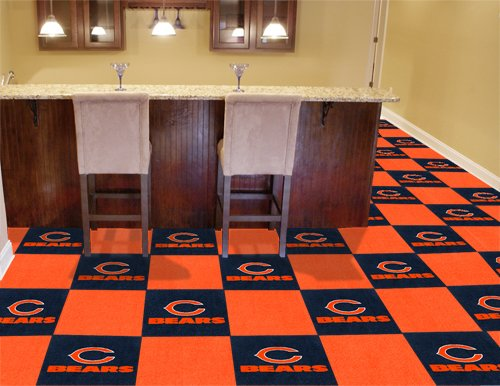 Chicago Bears 20 Pack Of 18in Area/Sports/Game Room Carpet/Rug Tiles