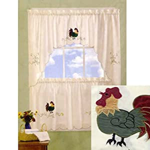 Rooster Embellished Tier Pair And Swag Set - Window Treatment Curtains