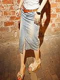 デニム スリム タイト スリット ロングスカート 膝下スカート デニムスカート カジュアル ボトムス ヴィンテージデニム ライトブルー 3サイズ S M L オリジナルブレスレットセット