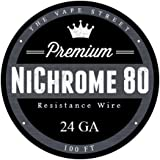 100ft 24 Gauge Nichrome Series 80 Resistance Wire 24GA (0.51mm) 1.64 Ohms/ft - SATISFACTION GUARANTEED OR YOUR MONEY-BACK - Perfect for all of your RDA Mods - BUY WITH CONFIDENCE