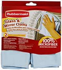 Rubbermaid FG6M0206 2-Pack Microfiber Glass Cleaning Cloth, Blue