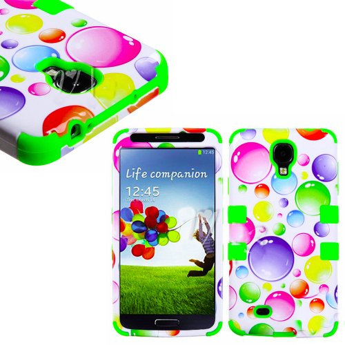 """Mylife Lime Green - Colorful Bubble Design (3 Piece Hybrid) Hard And Soft Case For The Samsung Galaxy S4 """"Fits Models: I9500, I9505, Sph-L720, Galaxy S Iv, Sgh-I337, Sch-I545, Sgh-M919, Sch-R970 And Galaxy S4 Lte-A Touch Phone"""" (Fitted Front And Back Soli"""