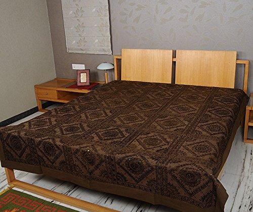 Imagen 3 de Tamaño de rosca doble bordado y trabajo Mirror Brown Colcha de algodón de tamaño 86 x 102 pulgadas