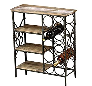 Gift Craft Pine And Metal Table With Wine Rack