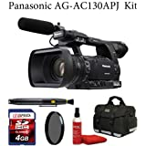 Panasonic AG-AC130APJ AVCCAM HD Hand-Held Camcorder + Deluxe Case + Air Blower + Lens Cleaning Brush + Sunpak CPL Filter + 4GB Memroy Card