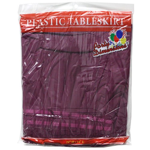 Party Dimensions Single Count Plastic Table Skirt, 29 by 14-Feet, Berry - 1
