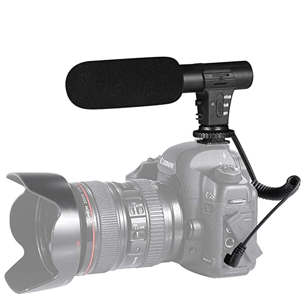 Camera Microphone, Shotory Video Recording Microphone External On-Camera Microphone for Nikon Canon DSLR Camera/DV Camcorder with 3.5mm Jack(Except for Canon T5i,T6) (Color: black, Tamaño: MIC-05)