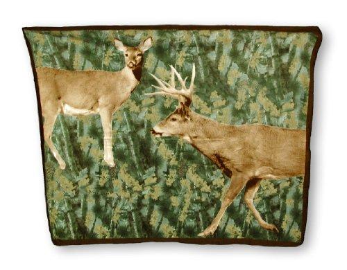 Forest Camouflage Buck And Doe Deer Fleece Throw Blanket 60 X 50 In. front-864233