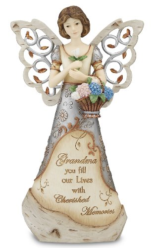 Pavilion Gift Company Elements 9-Inch Angel Holding Basket of Flowers, Grandma