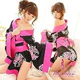 ゴージャス花柄3点セット着物振袖浴衣コスプレ衣装コスチューム通販セクシー黒ピンク花f292