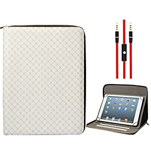 DMG Zippered Portfolio Cover Stand Case with Accessory Pockets for Ambrane A-707 7 inch (Textured White) + 3.5mm Flat AUX Cable with Mic