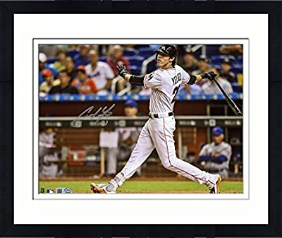 "Framed Christian Yelich Miami Marlins Autographed 8"" x 10"" Hitting Photograph - Fanatics Authentic Certified"