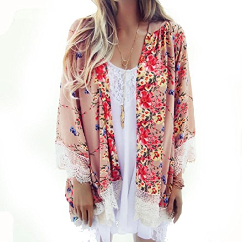Usstore Women Printed Chiffon Blouse Shawl Kimono Tops Cover up Blouse Coat (L) (Boutique Clothing For Women compare prices)
