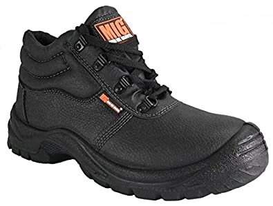 Mens Steel Toe Cap Leather Safety Work Boots With Midsole Sizes 7 to 12 UK By MIG - WORK WALKING CASUAL (3 UK, Black)