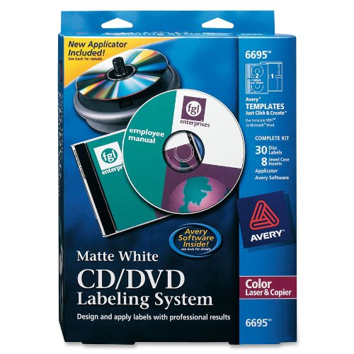 Avery CD/DVD Design Kit, 30 Labels & 8 Inserts for Color Laser Printers (6695) (Cd Label Software compare prices)