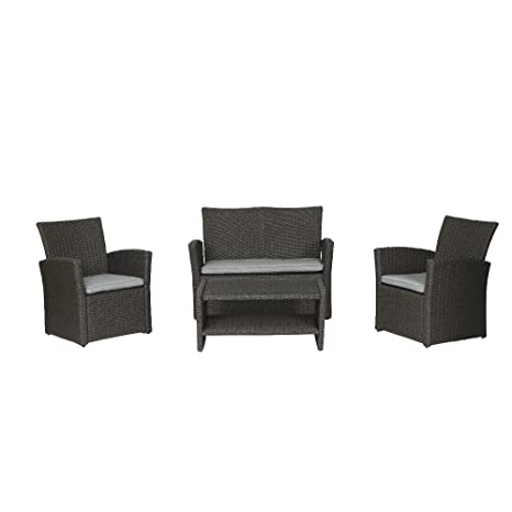 Siena Garden 254867 Lounge-Set Vegas 2x Sessel, 1x Bank, 1x Tisch Stahl-Gestell Gardino®-Geflecht grau inkl.Kissen grau, Glasplatte klar