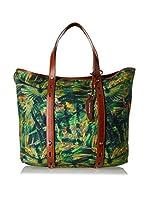 Borbonese Bolso shopping 92H Canvas Jungle (Verde / Multicolor)