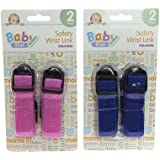Childrens Kids Toddler Set of 2 Pink or Blue Wrist Link Harness Safety Strap