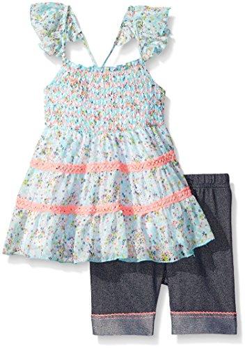 Little Lass Little Girls 2 Piece Bike Short Set Flutter Straps, Aqua, 4
