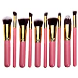 Womens 10pcs Professional Cosmetic Brushes Sets Foundation Blending Brush Makeup Brushes Tool Makeup Brushes (gold pink)