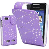 Top Accessories for Smart Phones LiLAC PURPLE GLITTER BLING DiAMOND MAGNETIC PU LEATHER FLIP CASE COVER POUCH FOR MOTOROLA MOTOSMART / MOTOLUXE / XT389 / XT390