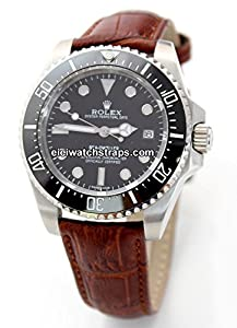20mm Classic Brown Crocodile Grain Leather Watch Strap For Rolex Sea Dweller