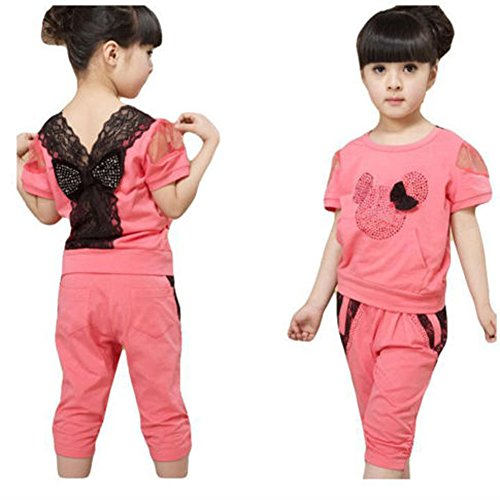 Kids Girls Baby Cotton Clothes Short Sleeve Tops T Shirt + Short Pants 3-9 Y (110(Advice3-4Years))