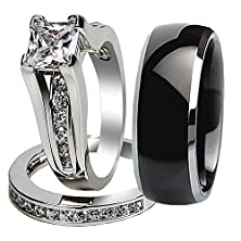 buy His Hers 3Pcs Black Titanium Matching Band Pretty Women Princess Cut 925 Sterling Silver Wedding Ring Set